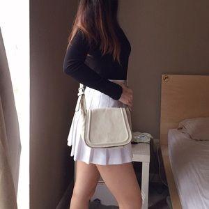 Zara 100% Cow Leather Ivory Crossbody Bag.